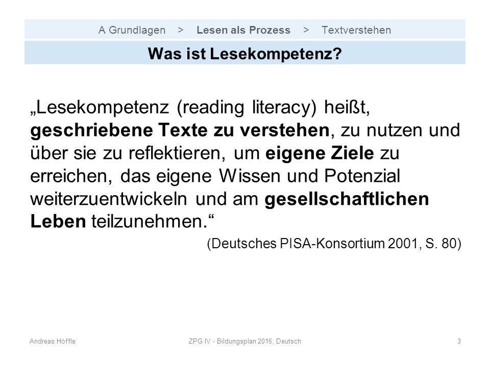 """A Grundlagen > Lesen als Prozess > Textverstehen """"Lesekompetenz (reading literacy) heißt, geschriebene Texte zu verstehen, zu nutzen und über sie zu reflektieren, um eigene Ziele zu erreichen, das eigene Wissen und Potenzial weiterzuentwickeln und am gesellschaftlichen Leben teilzunehmen. (Deutsches PISA-Konsortium 2001, S."""