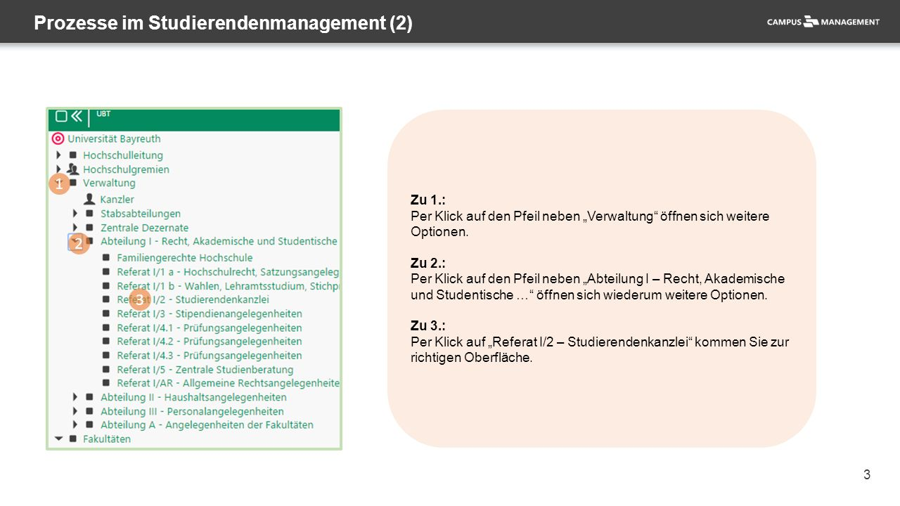 """3 Prozesse im Studierendenmanagement (2) 1 2 3 Zu 1.: Per Klick auf den Pfeil neben """"Verwaltung"""" öffnen sich weitere Optionen. Zu 2.: Per Klick auf de"""