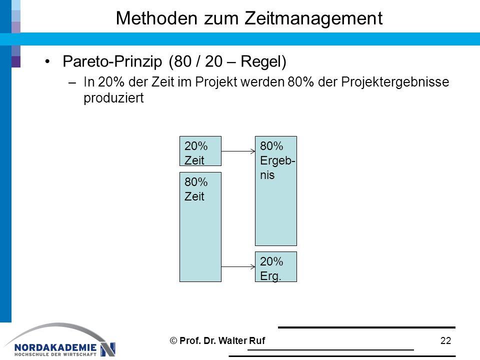 Methoden zum Zeitmanagement Pareto-Prinzip (80 / 20 – Regel) –In 20% der Zeit im Projekt werden 80% der Projektergebnisse produziert 22 80% Ergeb- nis