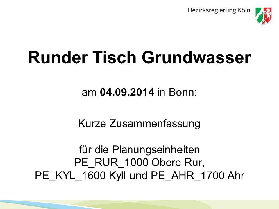 Runder Tisch Grundwasser am 04.09.2014 in Bonn: Kurze Zusammenfassung für die Planungseinheiten PE_RUR_1000 Obere Rur, PE_KYL_1600 Kyll und PE_AHR_170