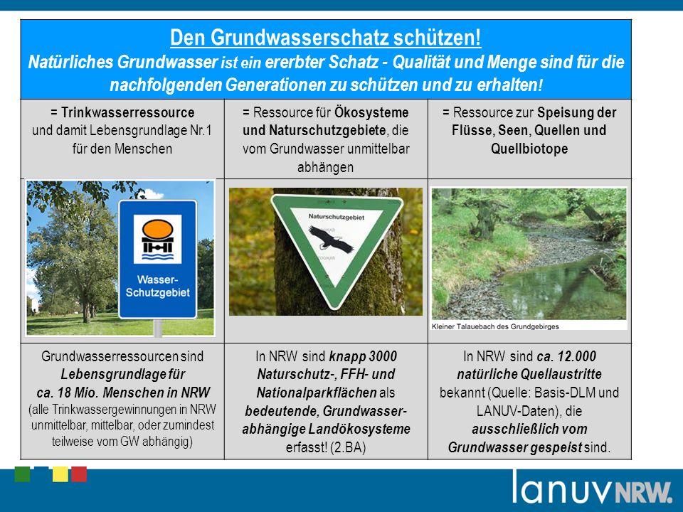 Den Grundwasserschatz schützen! Natürliches Grundwasser ist ein ererbter Schatz - Qualität und Menge sind für die nachfolgenden Generationen zu schütz