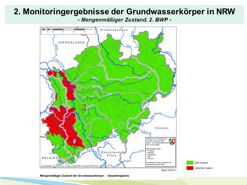 2. Monitoringergebnisse der Grundwasserkörper in NRW - Mengenmäßiger Zustand, 2. BWP -