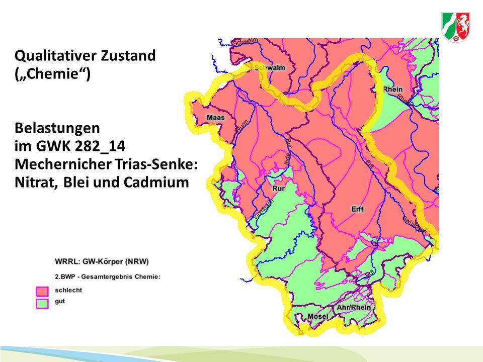 """Qualitativer Zustand (""""Chemie"""") Belastungen im GWK 282_14 Mechernicher Trias-Senke: Nitrat, Blei und Cadmium"""