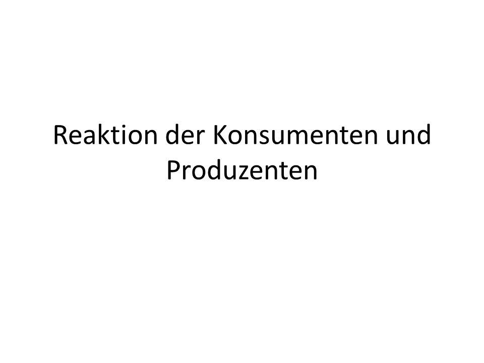 Reaktion der Konsumenten und Produzenten