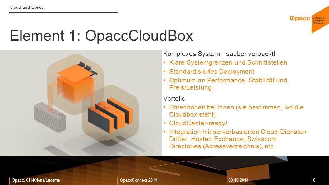 Opacc, CH-Kriens/LucerneOpaccConnect 201430.10.2014 7 Cloud und Opacc OpaccCloudBox in der Praxis Opacc bei Gyso OpaccERP: 70 User OpaccEnterpriseShop: Peak 800 User Durchschnitt Tagespeak > 200 User OpaccWebCRM: Peak: 50 User Durchschnitt Tagespeak >30 User