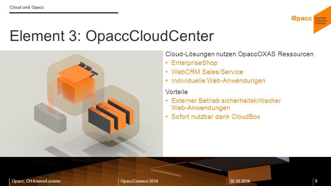 Opacc, CH-Kriens/LucerneOpaccConnect 201430.10.2014 10 Cloud und Opacc Element 4: OpaccERP CloudClient Zugriff unabhängig vom Standort VPN-Verbindung genügt Kein WTS oder Citrix nötig: CloudBox genügt Einfaches Deployment und Update Vorteile Volle Standortunabhängigkeit für Benutzer Keine teure Infrastruktur für Remote-Benutzer Integration mit anderen Cloud-Angeboten: Beispielsweise Office365