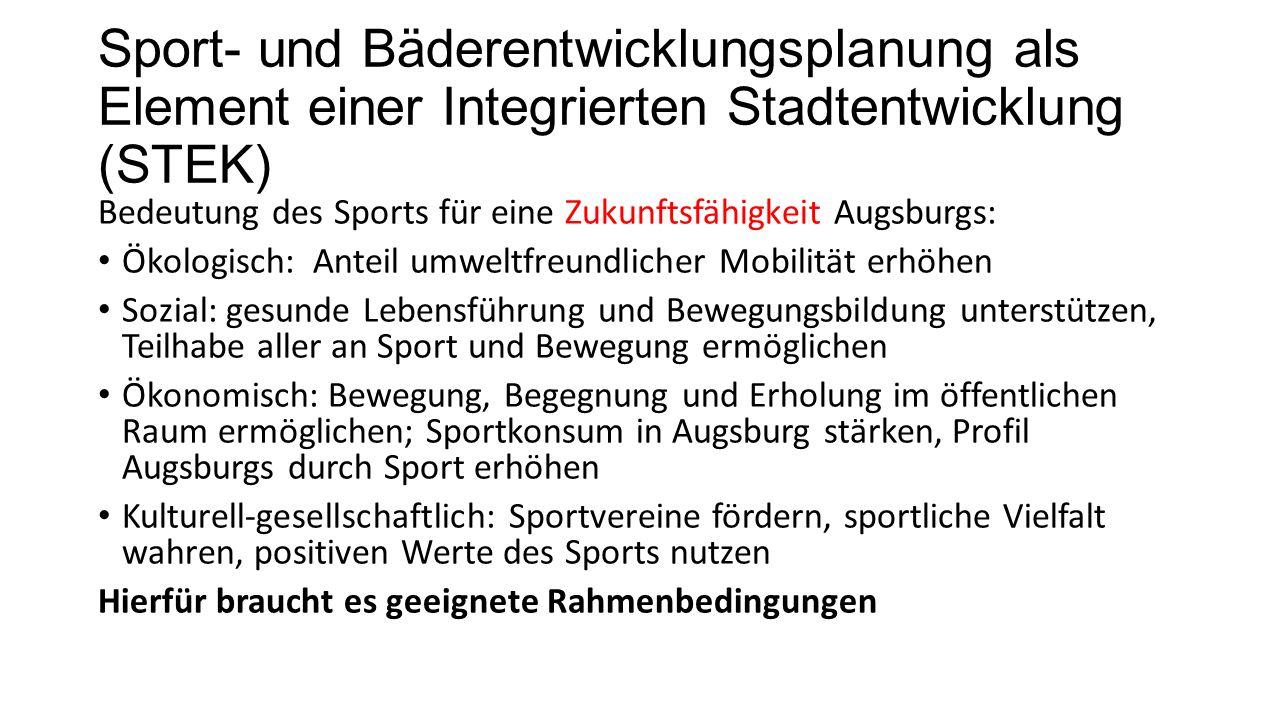 Sport- und Bäderentwicklungsplanung als Element einer Integrierten Stadtentwicklung (STEK) Bedeutung des Sports für eine Zukunftsfähigkeit Augsburgs:
