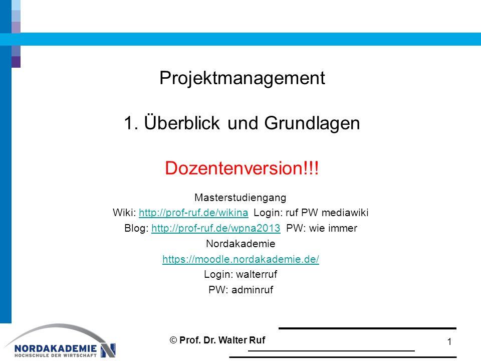 Projektmanagement 1. Überblick und Grundlagen Dozentenversion!!! Masterstudiengang Wiki: http://prof-ruf.de/wikina Login: ruf PW mediawikihttp://prof-