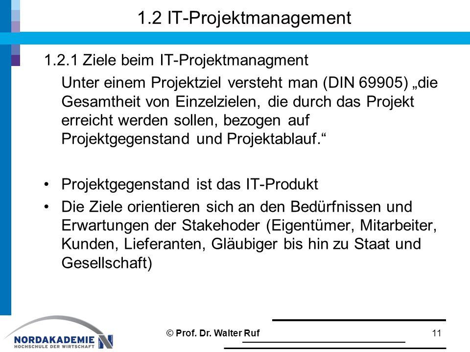 """1.2 IT-Projektmanagement 1.2.1 Ziele beim IT-Projektmanagment Unter einem Projektziel versteht man (DIN 69905) """"die Gesamtheit von Einzelzielen, die d"""