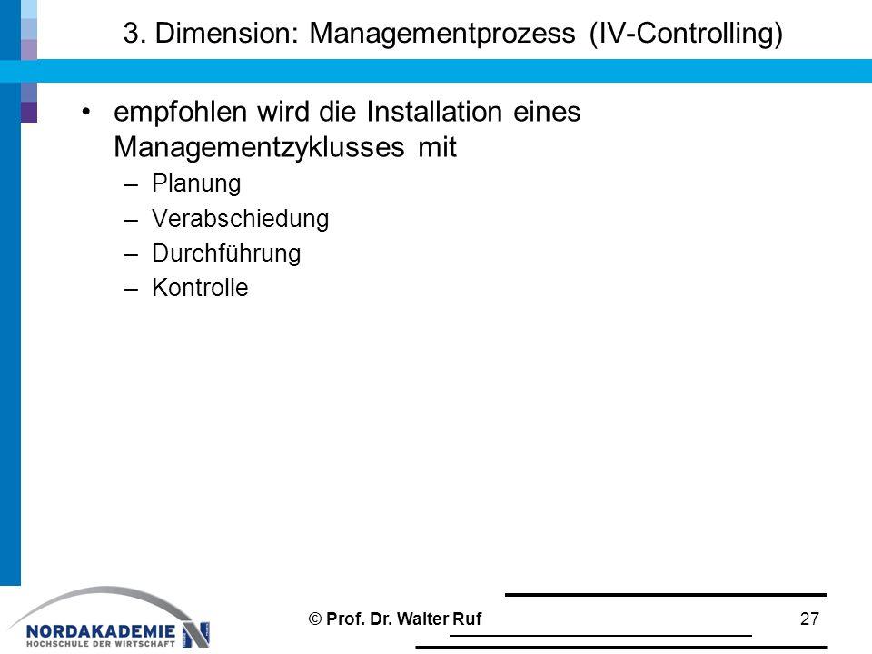 3. Dimension: Managementprozess (IV-Controlling) empfohlen wird die Installation eines Managementzyklusses mit –Planung –Verabschiedung –Durchführung