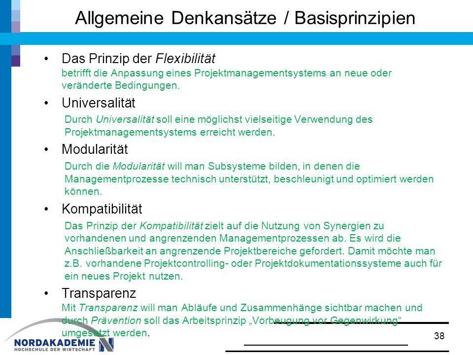 Allgemeine Denkansätze / Basisprinzipien Das Prinzip der Flexibilität betrifft die Anpassung eines Projektmanagementsystems an neue oder veränderte Be