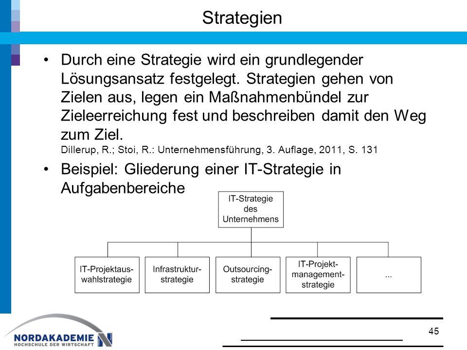 Strategien Durch eine Strategie wird ein grundlegender Lösungsansatz festgelegt. Strategien gehen von Zielen aus, legen ein Maßnahmenbündel zur Zielee