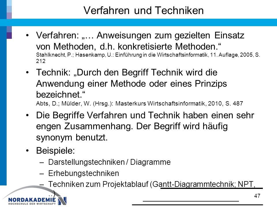 """Verfahren und Techniken Verfahren: """"… Anweisungen zum gezielten Einsatz von Methoden, d.h. konkretisierte Methoden."""" Stahlknecht, P.; Hasenkamp, U.: E"""