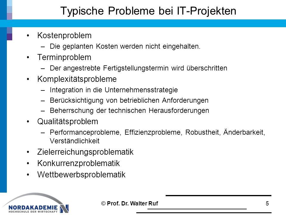 Typische Probleme bei IT-Projekten Kostenproblem –Die geplanten Kosten werden nicht eingehalten. Terminproblem –Der angestrebte Fertigstellungstermin
