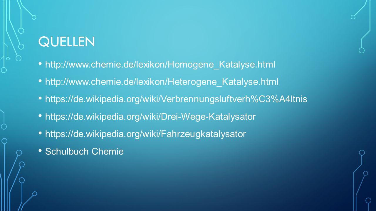QUELLEN http://www.chemie.de/lexikon/Homogene_Katalyse.html http://www.chemie.de/lexikon/Heterogene_Katalyse.html https://de.wikipedia.org/wiki/Verbrennungsluftverh%C3%A4ltnis https://de.wikipedia.org/wiki/Drei-Wege-Katalysator https://de.wikipedia.org/wiki/Fahrzeugkatalysator Schulbuch Chemie