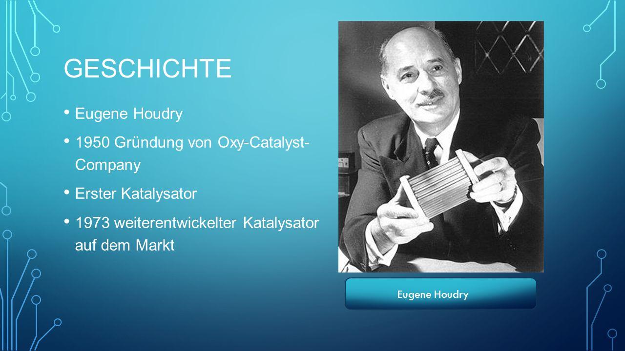GESCHICHTE Eugene Houdry 1950 Gründung von Oxy-Catalyst- Company Erster Katalysator 1973 weiterentwickelter Katalysator auf dem Markt Eugene Houdry