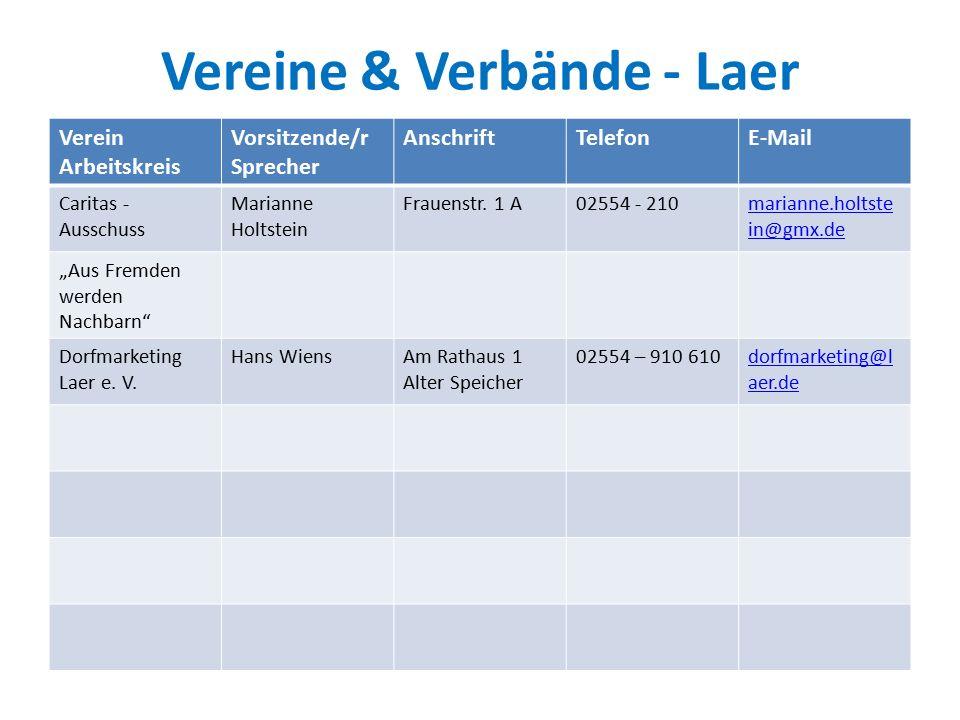 Vereine & Verbände - Laer Verein Arbeitskreis Vorsitzende/r Sprecher AnschriftTelefonE-Mail Caritas - Ausschuss Marianne Holtstein Frauenstr.