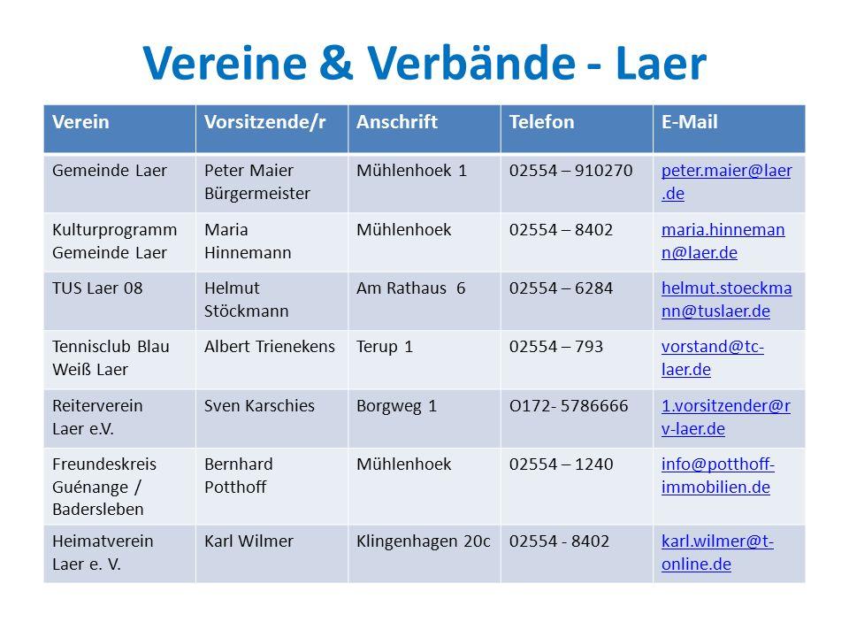 Vereine & Verbände - Laer VereinVorsitzende/ Leiter/in AnschriftTelefonE-Mail Kindertagesstätte St.
