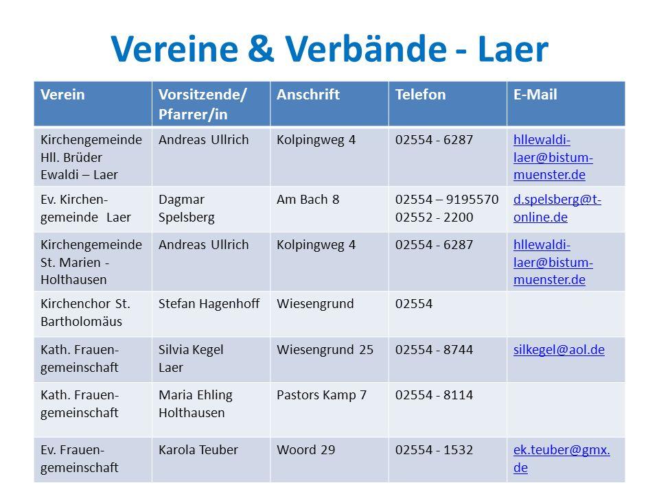 Vereine & Verbände - Laer VereinVorsitzende/ Pfarrer/in AnschriftTelefonE-Mail Kirchengemeinde Hll.