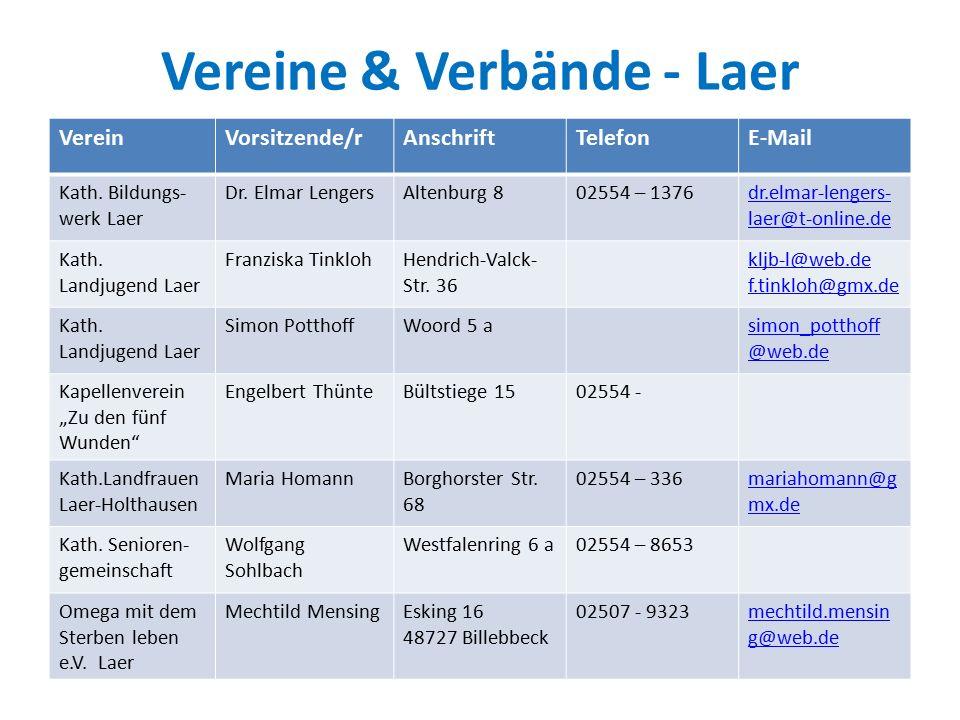Vereine & Verbände - Laer VereinVorsitzende/rAnschriftTelefonE-Mail Kath.