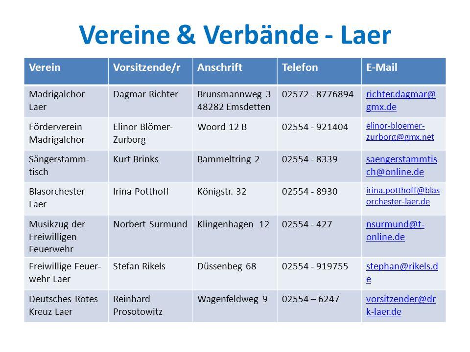 Vereine & Verbände - Laer VereinVorsitzende/rAnschriftTelefonE-Mail Vereinigte Schützenbruder- schaft v.2010 e.V.