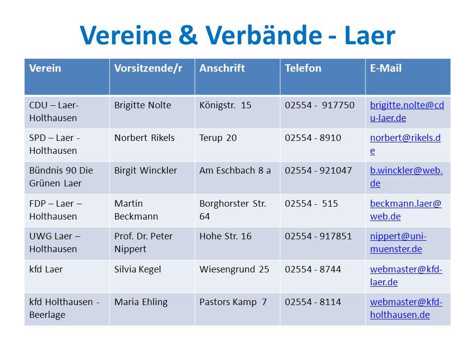 Vereine & Verbände - Laer VereinVorsitzende/rAnschriftTelefonE-Mail CDU – Laer- Holthausen Brigitte NolteKönigstr.