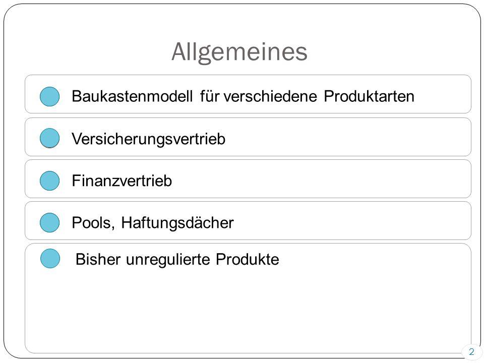 Allgemeines Baukastenmodell für verschiedene Produktarten Versicherungsvertrieb Finanzvertrieb Pools, Haftungsdächer Bisher unregulierte Produkte 2