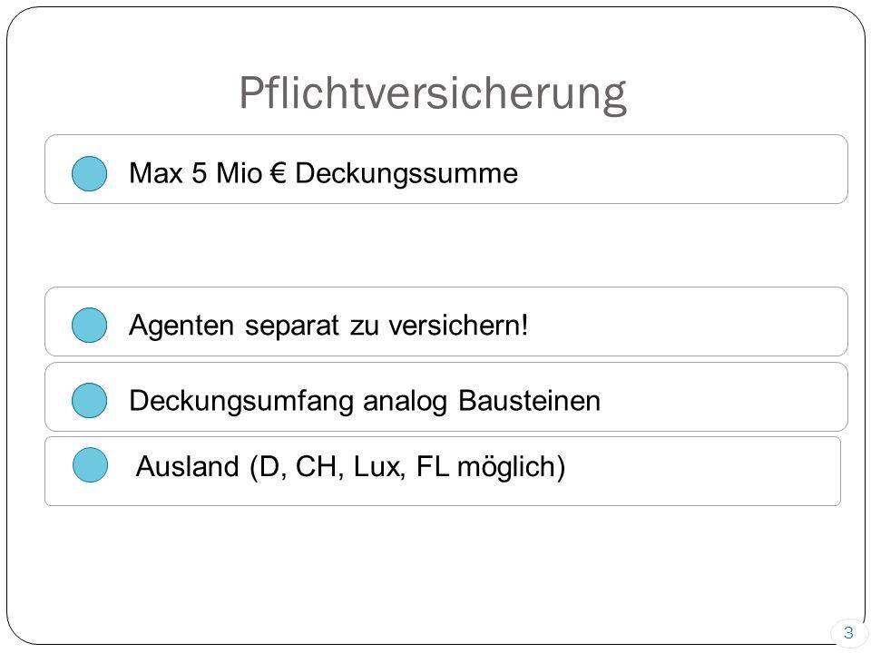 Pflichtversicherung Max 5 Mio € Deckungssumme Agenten separat zu versichern.
