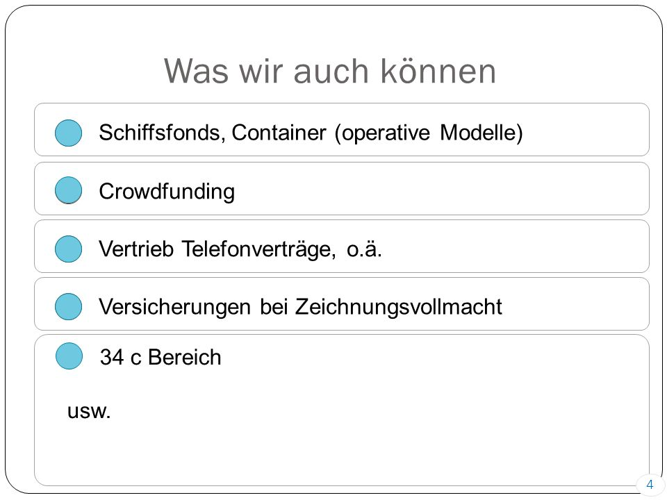 Was wir auch können Schiffsfonds, Container (operative Modelle) Crowdfunding Vertrieb Telefonverträge, o.ä.