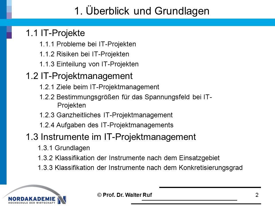 1. Überblick und Grundlagen 1.1 IT-Projekte 1.1.1 Probleme bei IT-Projekten 1.1.2 Risiken bei IT-Projekten 1.1.3 Einteilung von IT-Projekten 1.2 IT-Pr