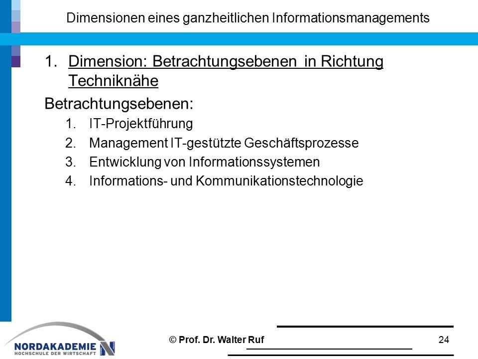 Dimensionen eines ganzheitlichen Informationsmanagements 1.Dimension: Betrachtungsebenen in Richtung Techniknähe Betrachtungsebenen: 1.IT-Projektführu