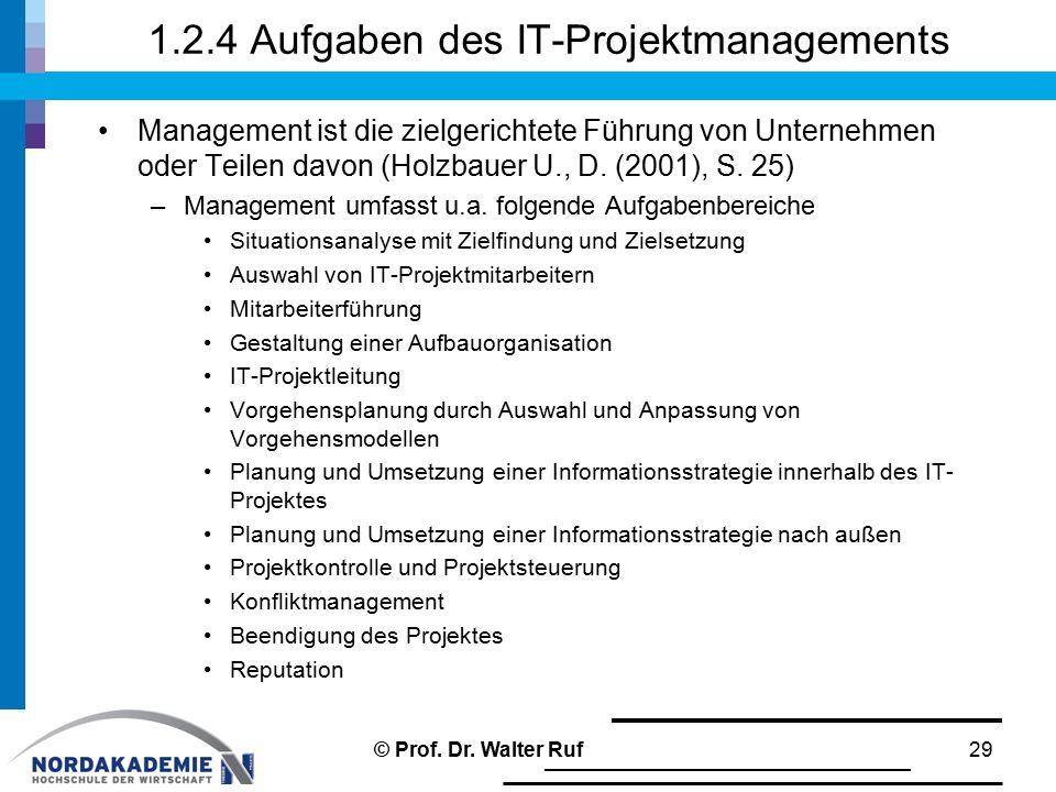 1.2.4 Aufgaben des IT-Projektmanagements Management ist die zielgerichtete Führung von Unternehmen oder Teilen davon (Holzbauer U., D. (2001), S. 25)