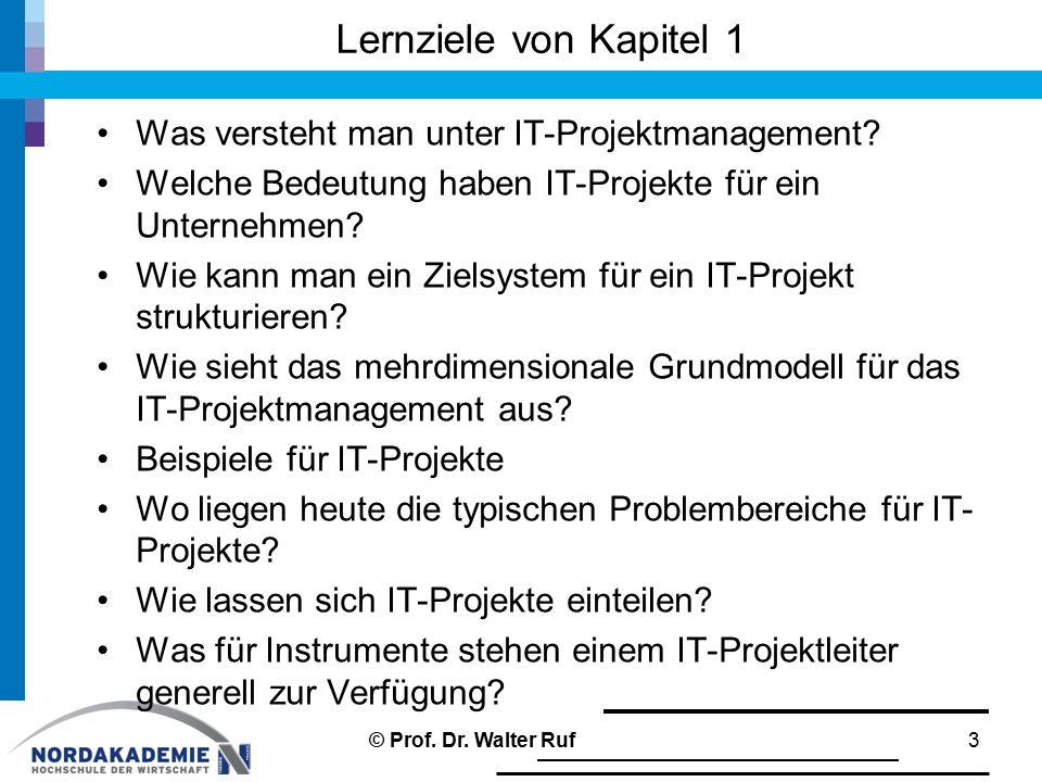 Lernziele von Kapitel 1 Was versteht man unter IT-Projektmanagement? Welche Bedeutung haben IT-Projekte für ein Unternehmen? Wie kann man ein Zielsyst