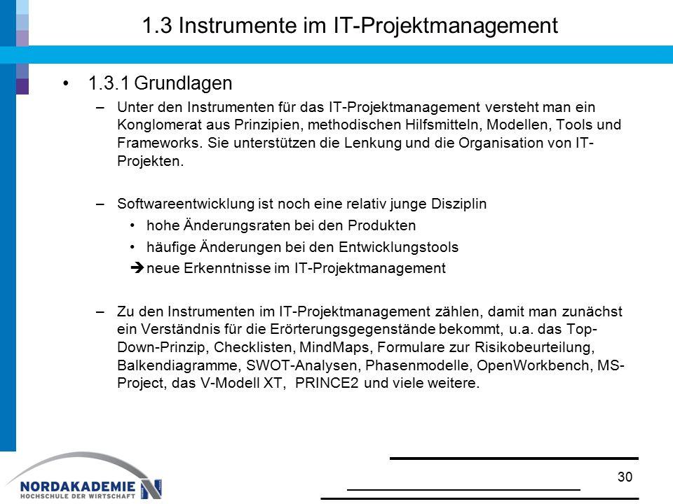 1.3 Instrumente im IT-Projektmanagement 1.3.1 Grundlagen –Unter den Instrumenten für das IT-Projektmanagement versteht man ein Konglomerat aus Prinzip