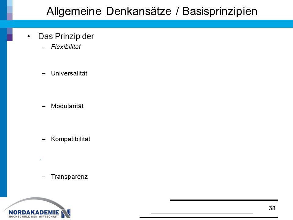 Allgemeine Denkansätze / Basisprinzipien Das Prinzip der –Flexibilität –Universalität –Modularität –Kompatibilität. –Transparenz 38