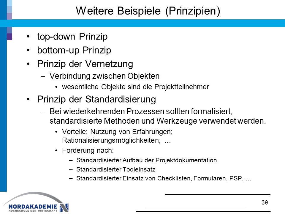Weitere Beispiele (Prinzipien) top-down Prinzip bottom-up Prinzip Prinzip der Vernetzung –Verbindung zwischen Objekten wesentliche Objekte sind die Pr
