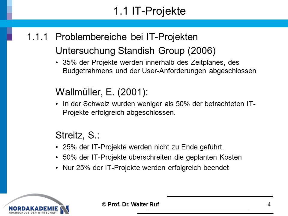 1.1 IT-Projekte 1.1.1 Problembereiche bei IT-Projekten Untersuchung Standish Group (2006) 35% der Projekte werden innerhalb des Zeitplanes, des Budget