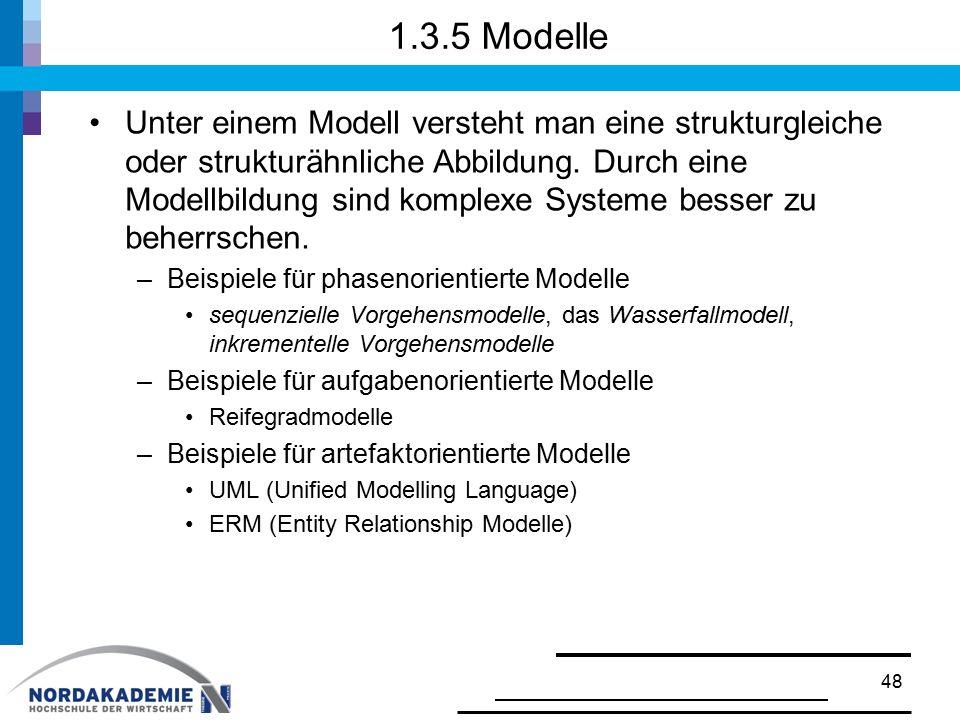 1.3.5 Modelle Unter einem Modell versteht man eine strukturgleiche oder strukturähnliche Abbildung. Durch eine Modellbildung sind komplexe Systeme bes