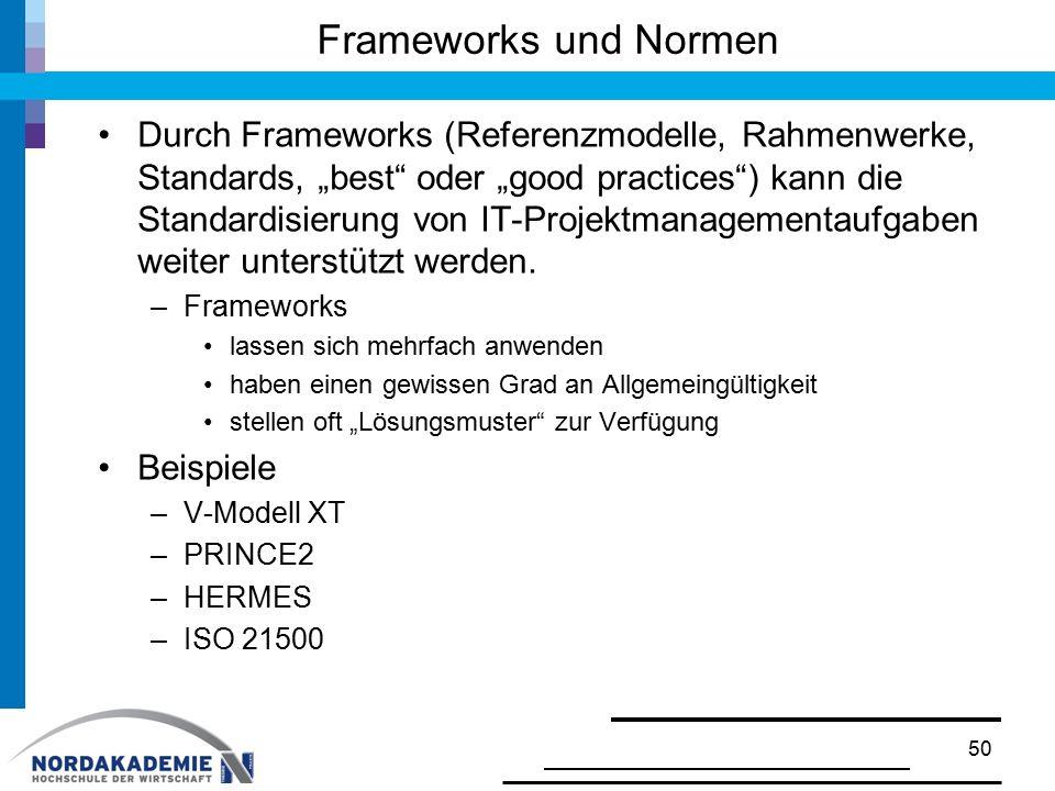 """Frameworks und Normen Durch Frameworks (Referenzmodelle, Rahmenwerke, Standards, """"best"""" oder """"good practices"""") kann die Standardisierung von IT-Projek"""