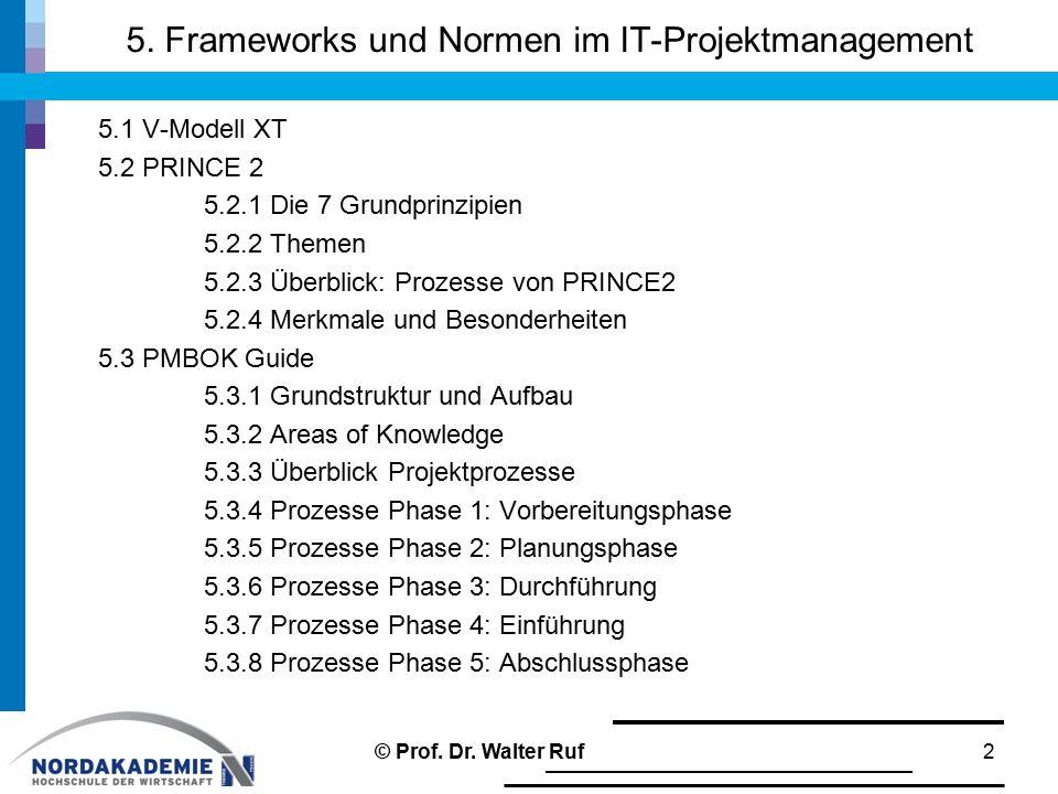 5. Frameworks und Normen im IT-Projektmanagement 5.1 V-Modell XT 5.2 PRINCE 2 5.2.1 Die 7 Grundprinzipien 5.2.2 Themen 5.2.3 Überblick: Prozesse von P