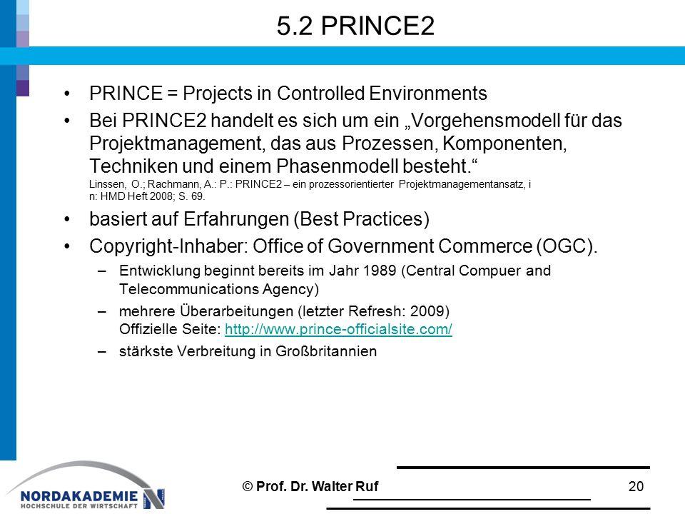 """5.2 PRINCE2 PRINCE = Projects in Controlled Environments Bei PRINCE2 handelt es sich um ein """"Vorgehensmodell für das Projektmanagement, das aus Prozes"""