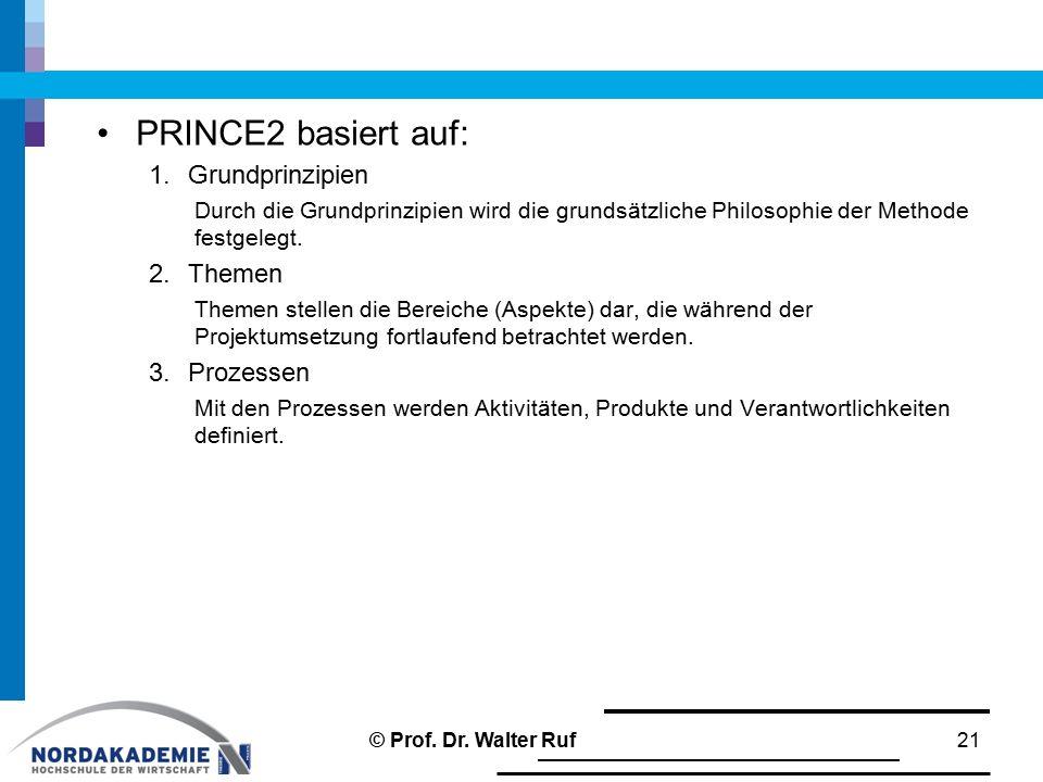 PRINCE2 basiert auf: 1.Grundprinzipien Durch die Grundprinzipien wird die grundsätzliche Philosophie der Methode festgelegt. 2.Themen Themen stellen d