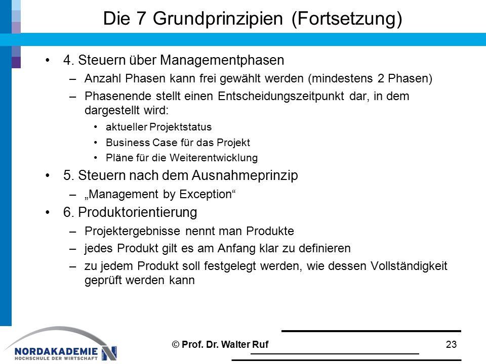 Die 7 Grundprinzipien (Fortsetzung) 4. Steuern über Managementphasen –Anzahl Phasen kann frei gewählt werden (mindestens 2 Phasen) –Phasenende stellt
