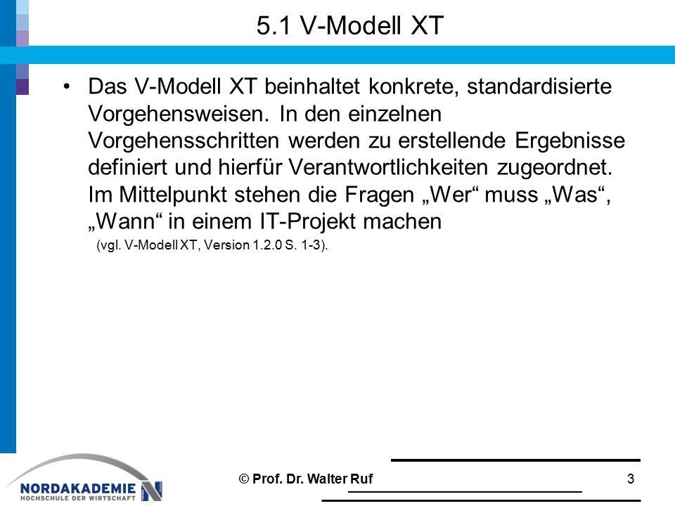 5.1 V-Modell XT Das V-Modell XT beinhaltet konkrete, standardisierte Vorgehensweisen. In den einzelnen Vorgehensschritten werden zu erstellende Ergebn