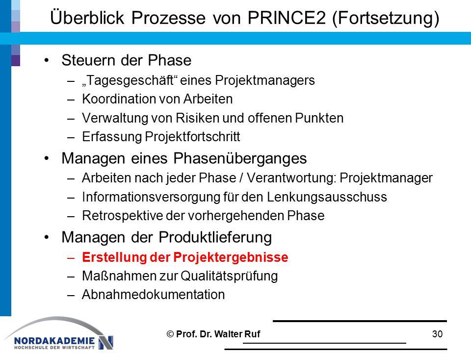 """Überblick Prozesse von PRINCE2 (Fortsetzung) Steuern der Phase –""""Tagesgeschäft"""" eines Projektmanagers –Koordination von Arbeiten –Verwaltung von Risik"""