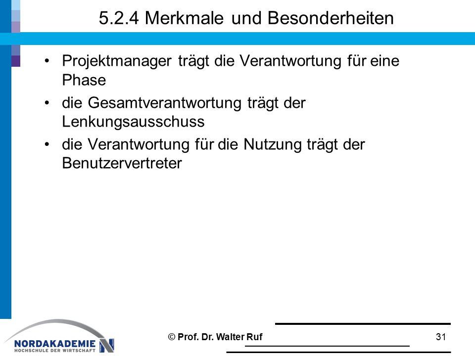 5.2.4 Merkmale und Besonderheiten Projektmanager trägt die Verantwortung für eine Phase die Gesamtverantwortung trägt der Lenkungsausschuss die Verant