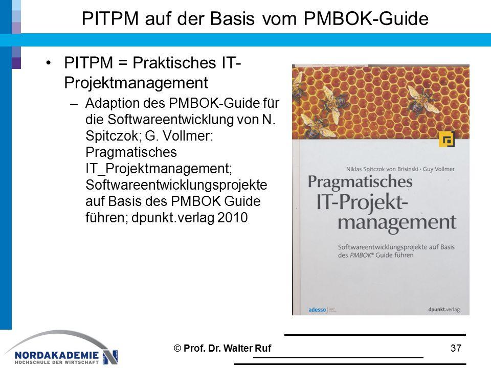 PITPM auf der Basis vom PMBOK-Guide PITPM = Praktisches IT- Projektmanagement –Adaption des PMBOK-Guide für die Softwareentwicklung von N. Spitczok; G