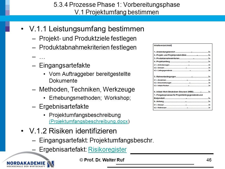 5.3.4 Prozesse Phase 1: Vorbereitungsphase V.1 Projektumfang bestimmen V.1.1 Leistungsumfang bestimmen –Projekt- und Produktziele festlegen –Produktab
