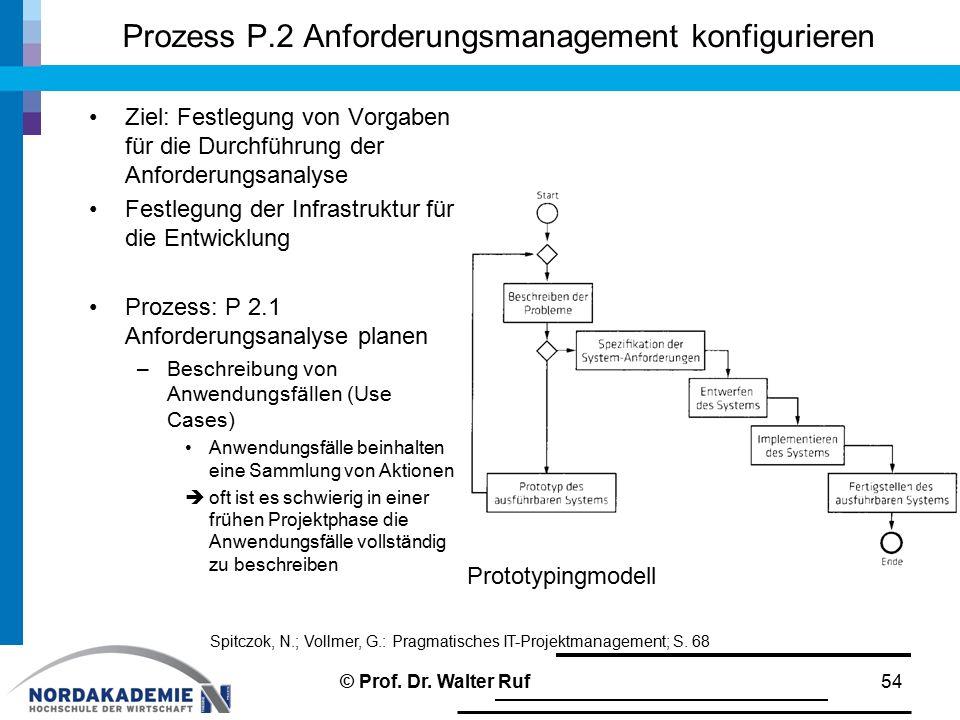 Prozess P.2 Anforderungsmanagement konfigurieren Ziel: Festlegung von Vorgaben für die Durchführung der Anforderungsanalyse Festlegung der Infrastrukt