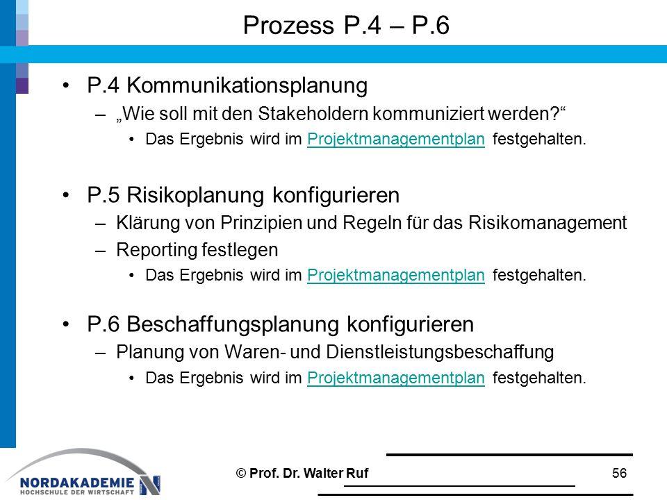 """Prozess P.4 – P.6 P.4 Kommunikationsplanung –""""Wie soll mit den Stakeholdern kommuniziert werden?"""" Das Ergebnis wird im Projektmanagementplan festgehal"""